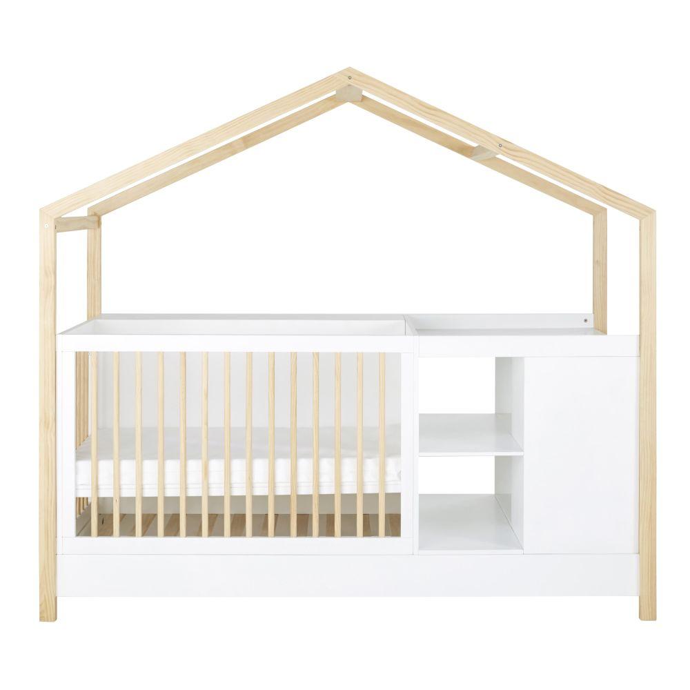 Maisons du Monde Lit bébé combiné évolutif bicolore L211