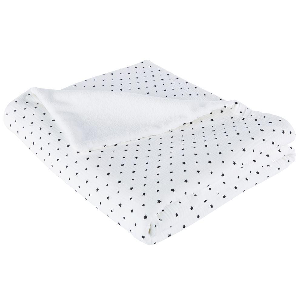Maisons du Monde Plaid en coton bio blanc motifs pois et étoiles noirs 130x170
