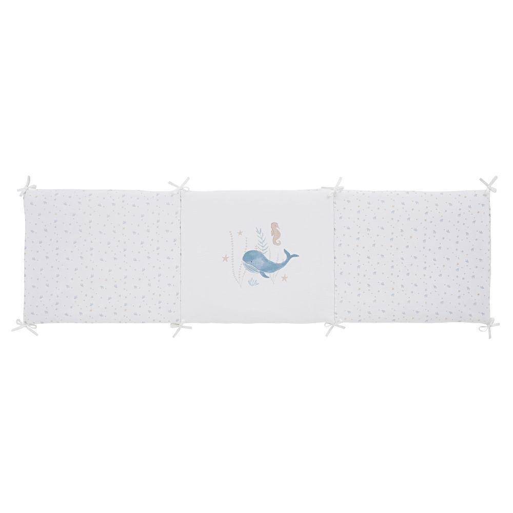 Maisons du Monde Tour de lit bébé en gaze de coton bio imprimé fonds marins
