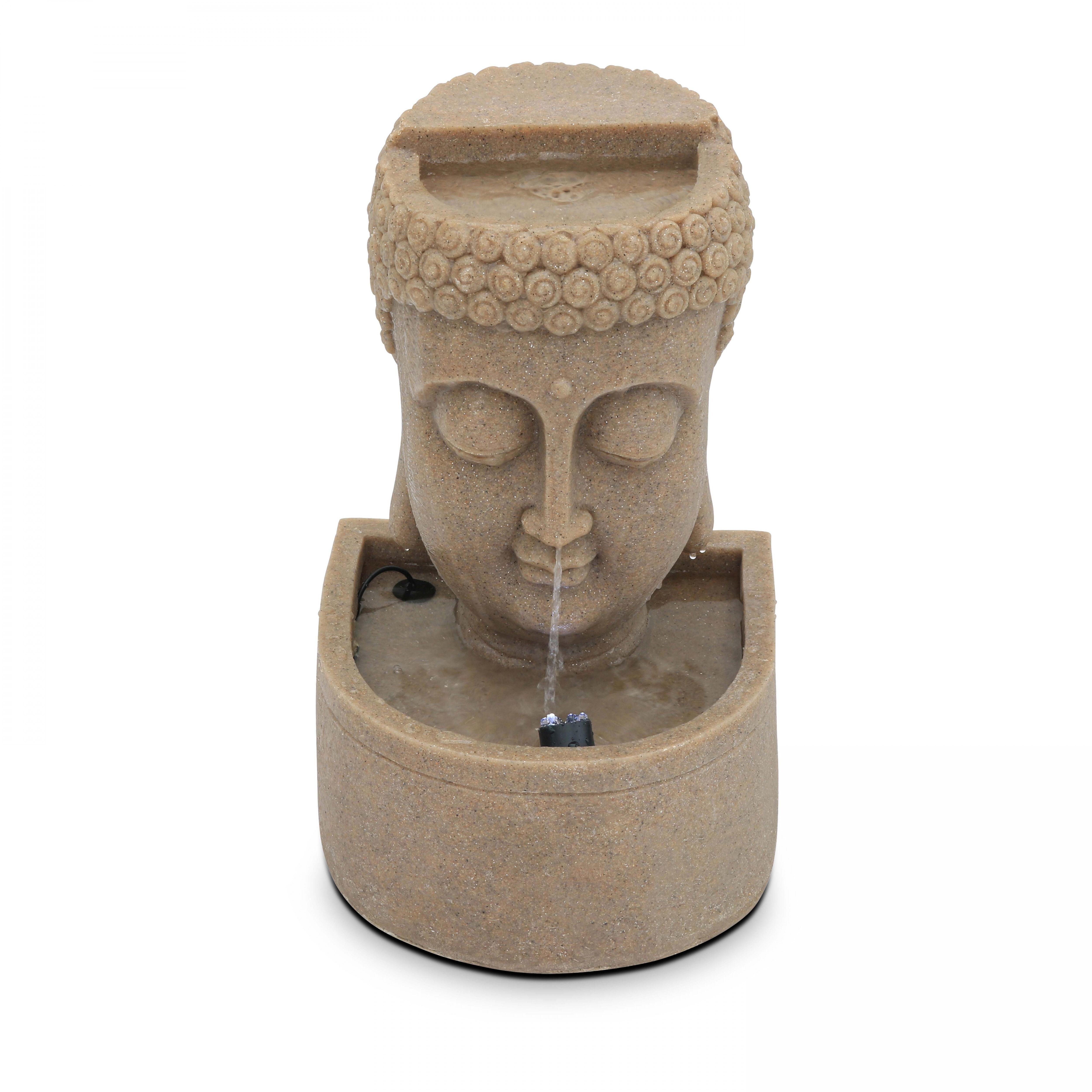 Oviala Fontaine bouddha pierre reconstituée LED beige