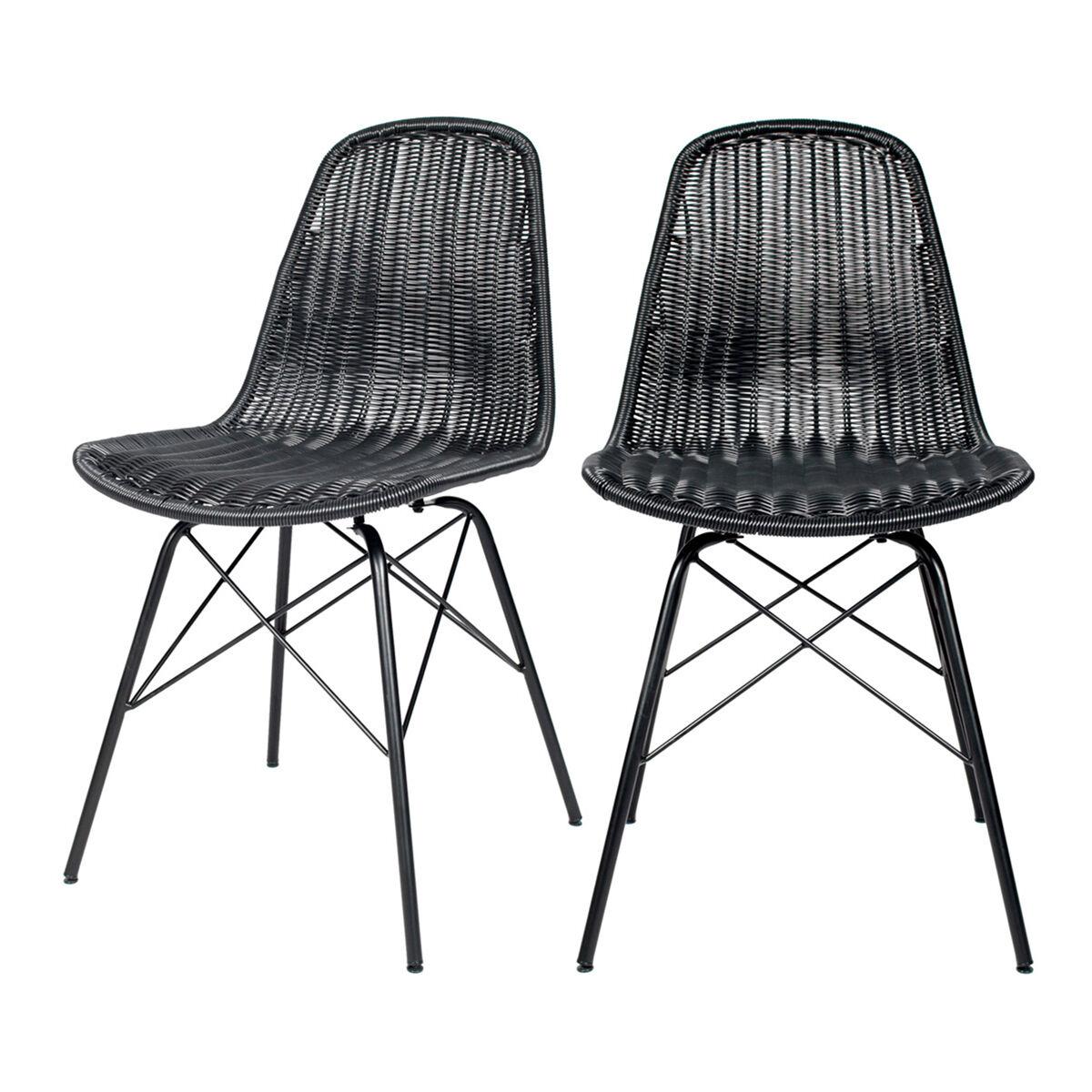 Rendez vous déco Chaise en résine tressée noir (lot de 2)
