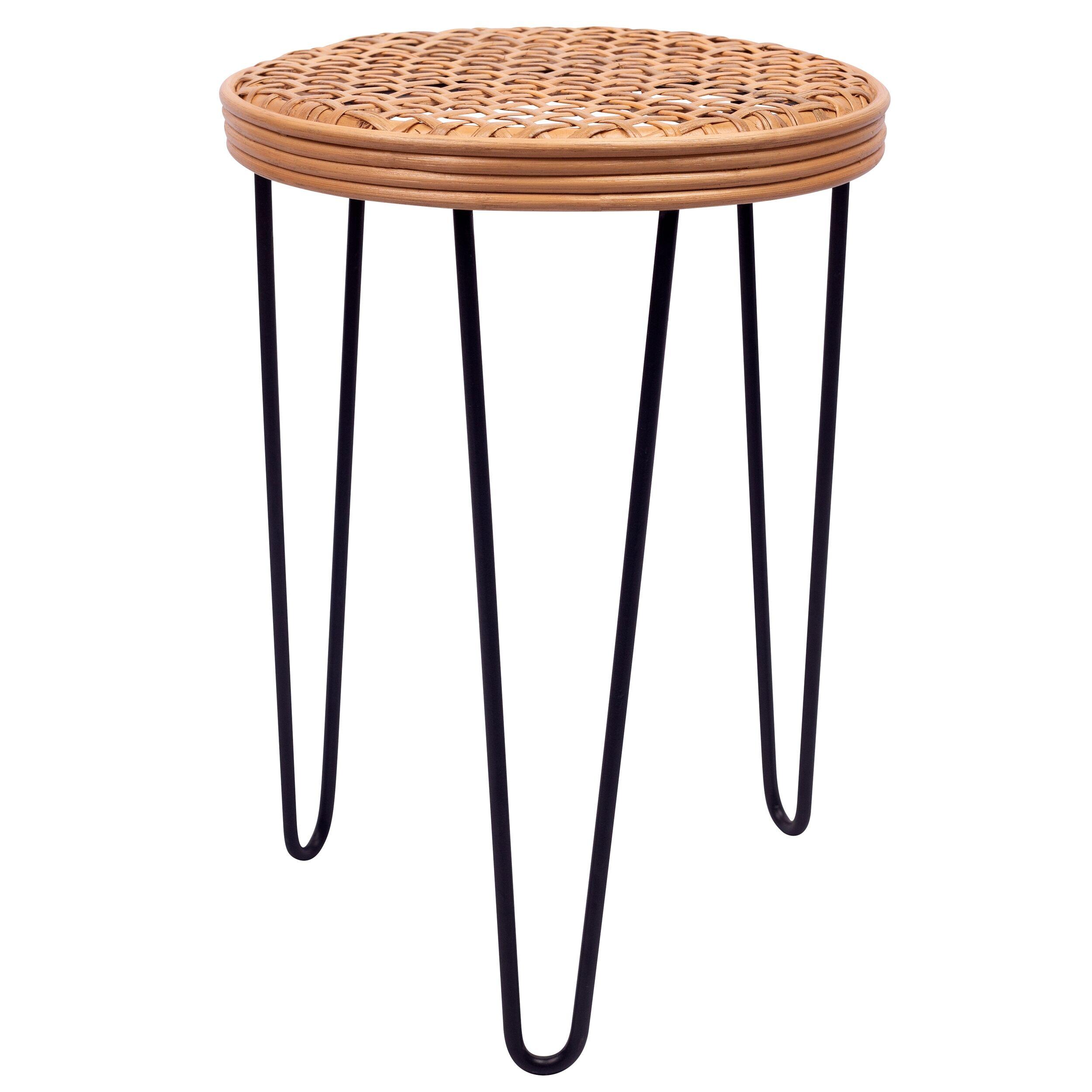 Rendez vous déco Table d'appoint ronde en rotin tressé