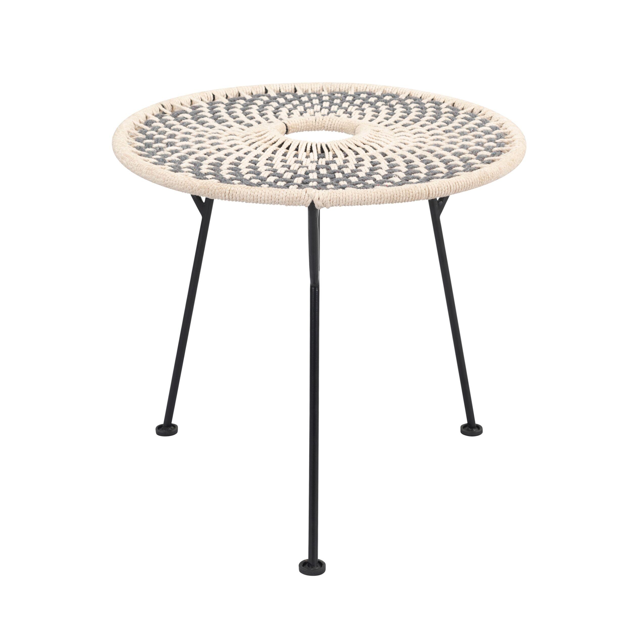 Rendez vous déco Table d'appoint ronde tressée en coton gris/écru pieds métal