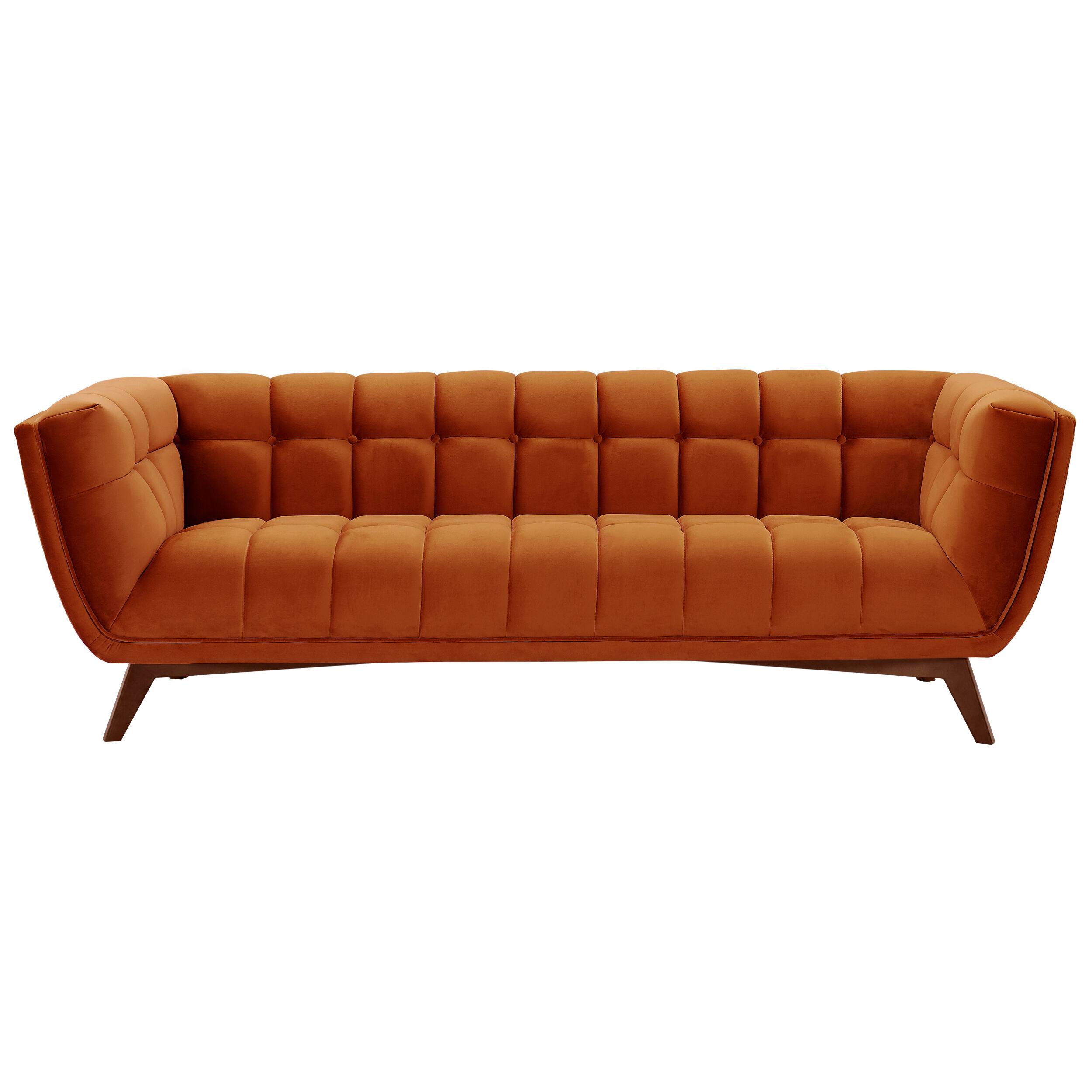 Rendez vous déco Canapé 3 places en velours orange curcuma
