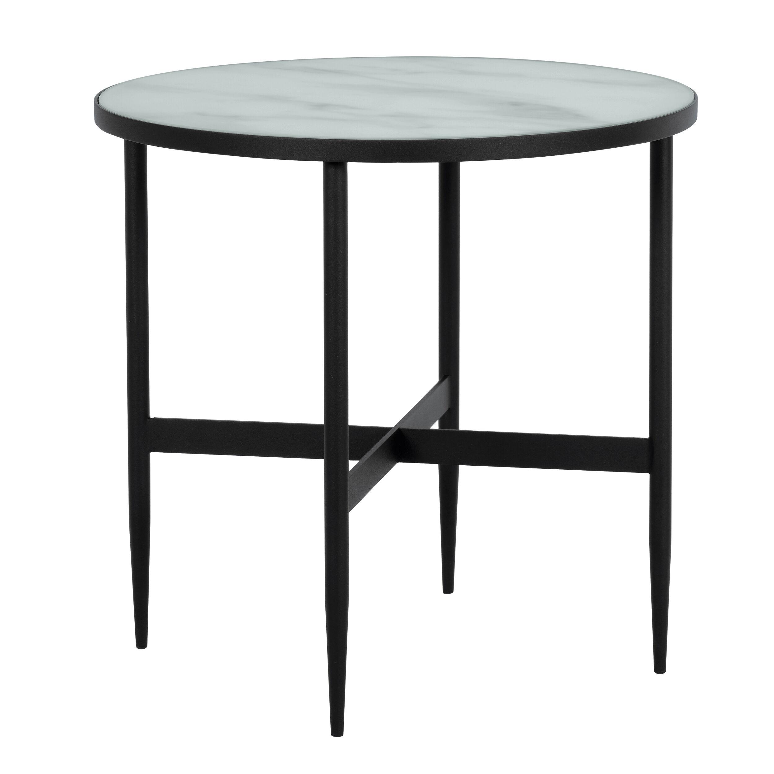 Rendez vous déco Table basse ronde  50 cm en verre effet marbre