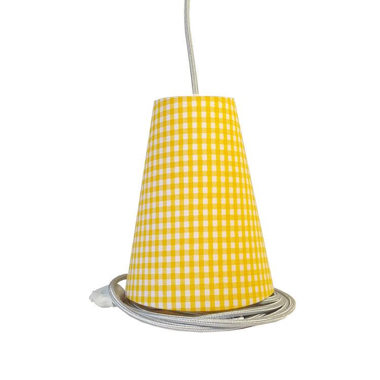 Ambiances & Toiles Suspension baladeuse vichy jaune/cordon textile argent, H 19cm