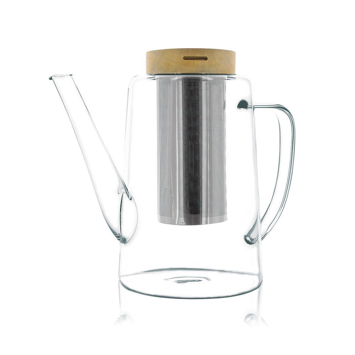 OGO Living Théire avec couvercle en verre borosilicate et bois 1,2L