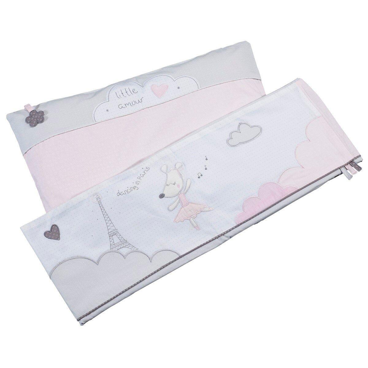 Sauthon Parure de lit bébé et taie d'oreiller en coton rose
