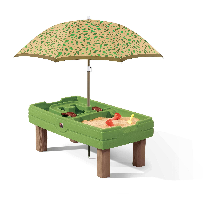 Step 2 Centre d'activités sable et eau vert avec parasol