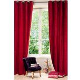 Maisons du Monde Rideau à illets en velours rouge et lin beige à l'unité 140x300