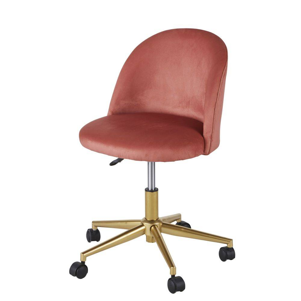 Maisons du Monde Chaise de bureau vintage à roulettes en velours terracotta Mauricette