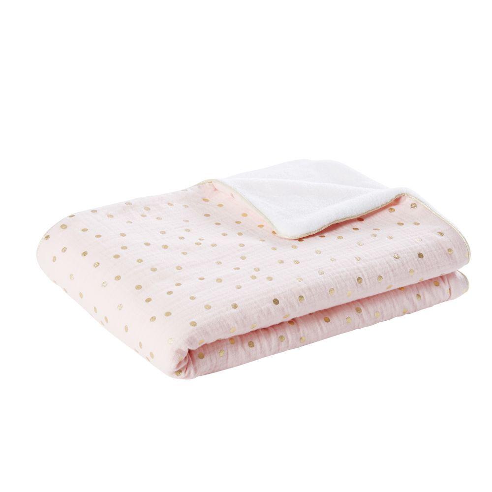 Maisons du Monde Couverture bébé en coton rose et blanc motifs à pois dorés 75x100