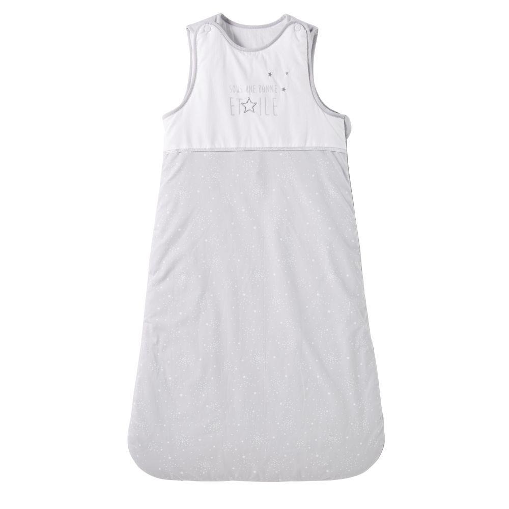 Maisons du Monde Gigoteuse bébé évolutive 0/18 mois en coton gris et blanc motifs étoiles