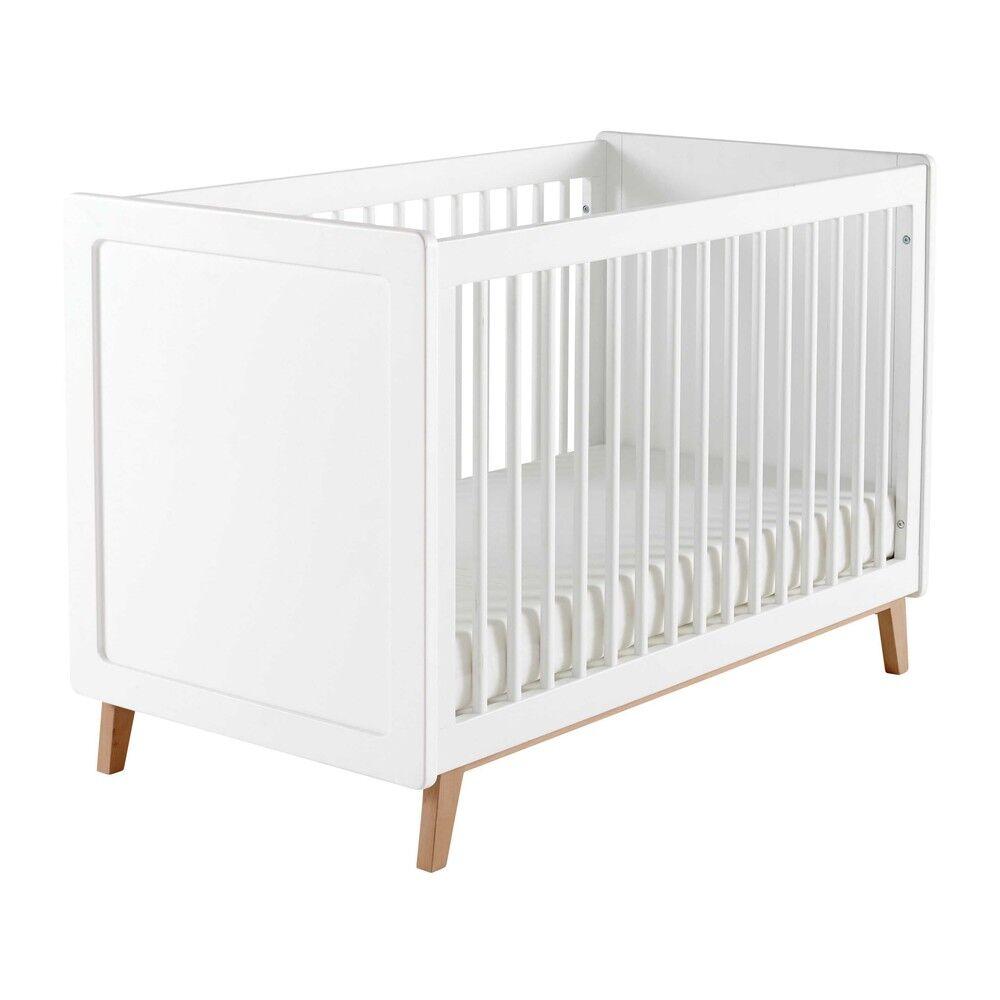Maisons du Monde Lit bébé à barreaux blanc L126 Sweet