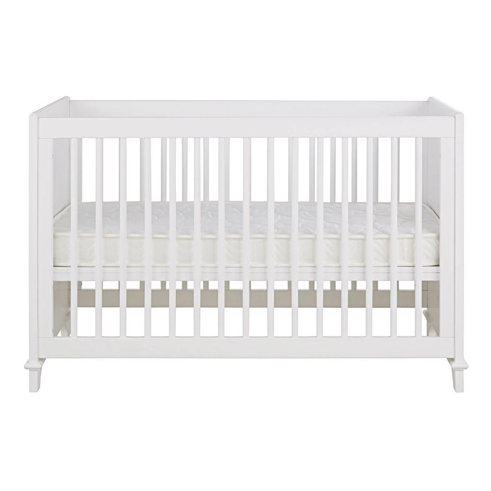 Maisons du Monde Lit bébé à barreaux en pin et hêtre blanc L128  Idylle