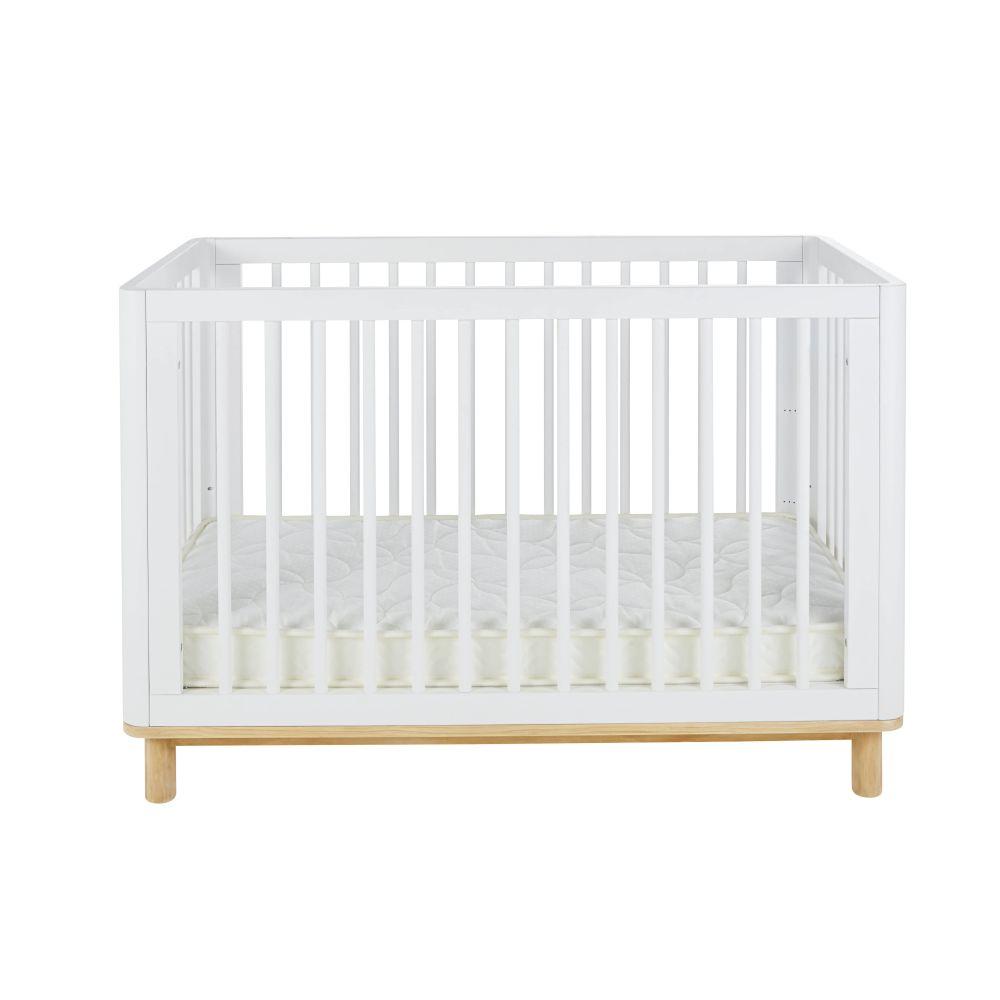 Maisons du Monde Lit bébé à barreaux en pin et hêtre blanc mat L125 Sasha