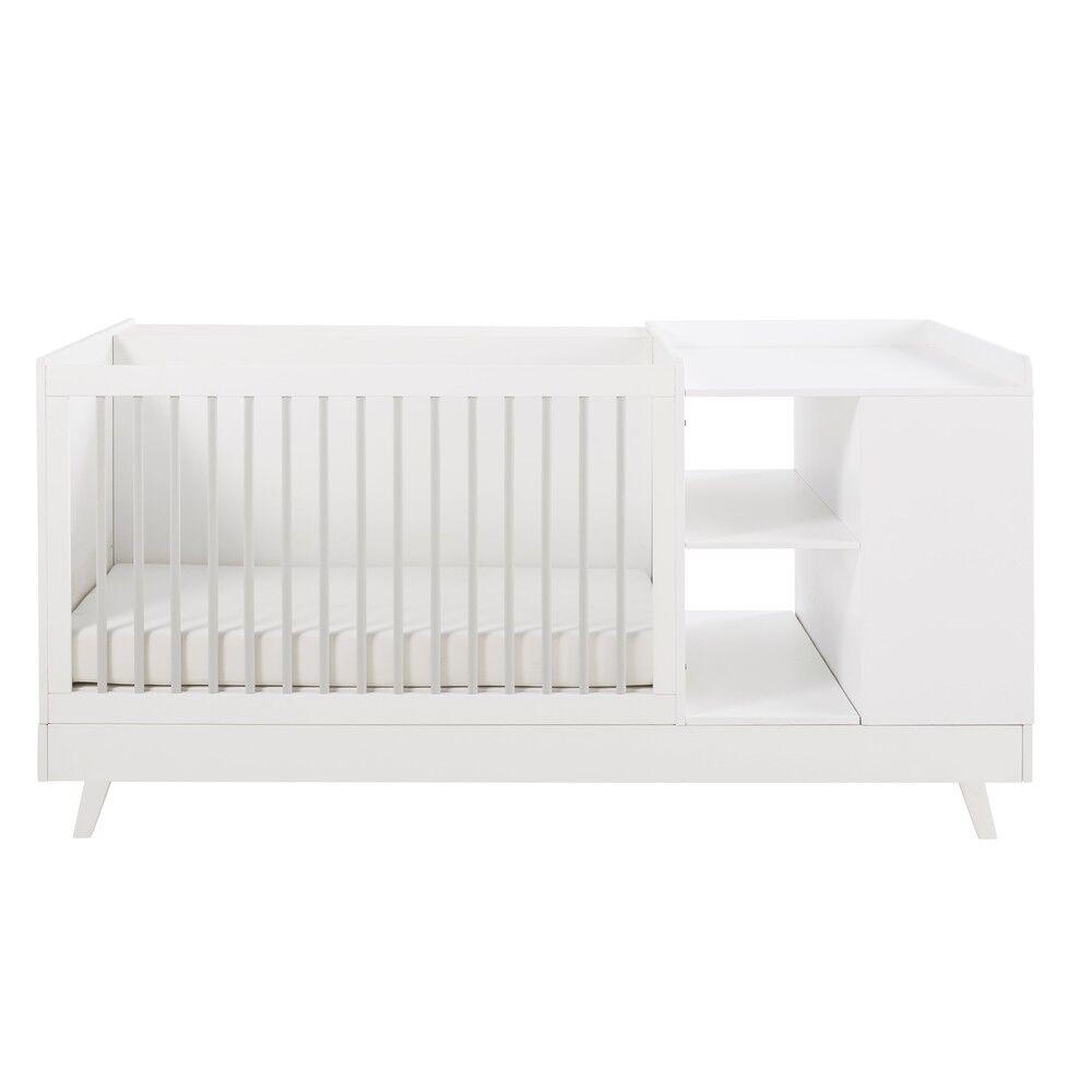 Maisons du Monde Lit bébé combiné blanc et gris L190 Celeste