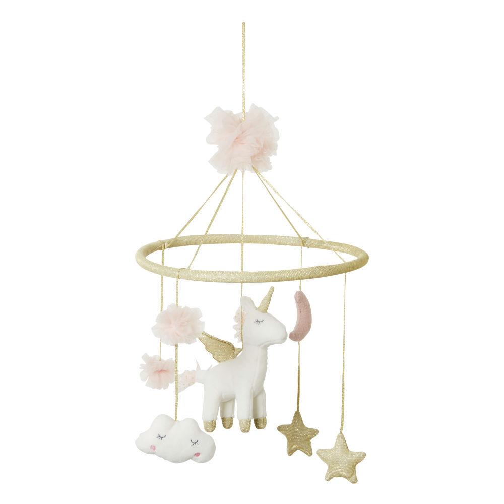 Maisons du Monde Mobile bébé licorne rose et doré