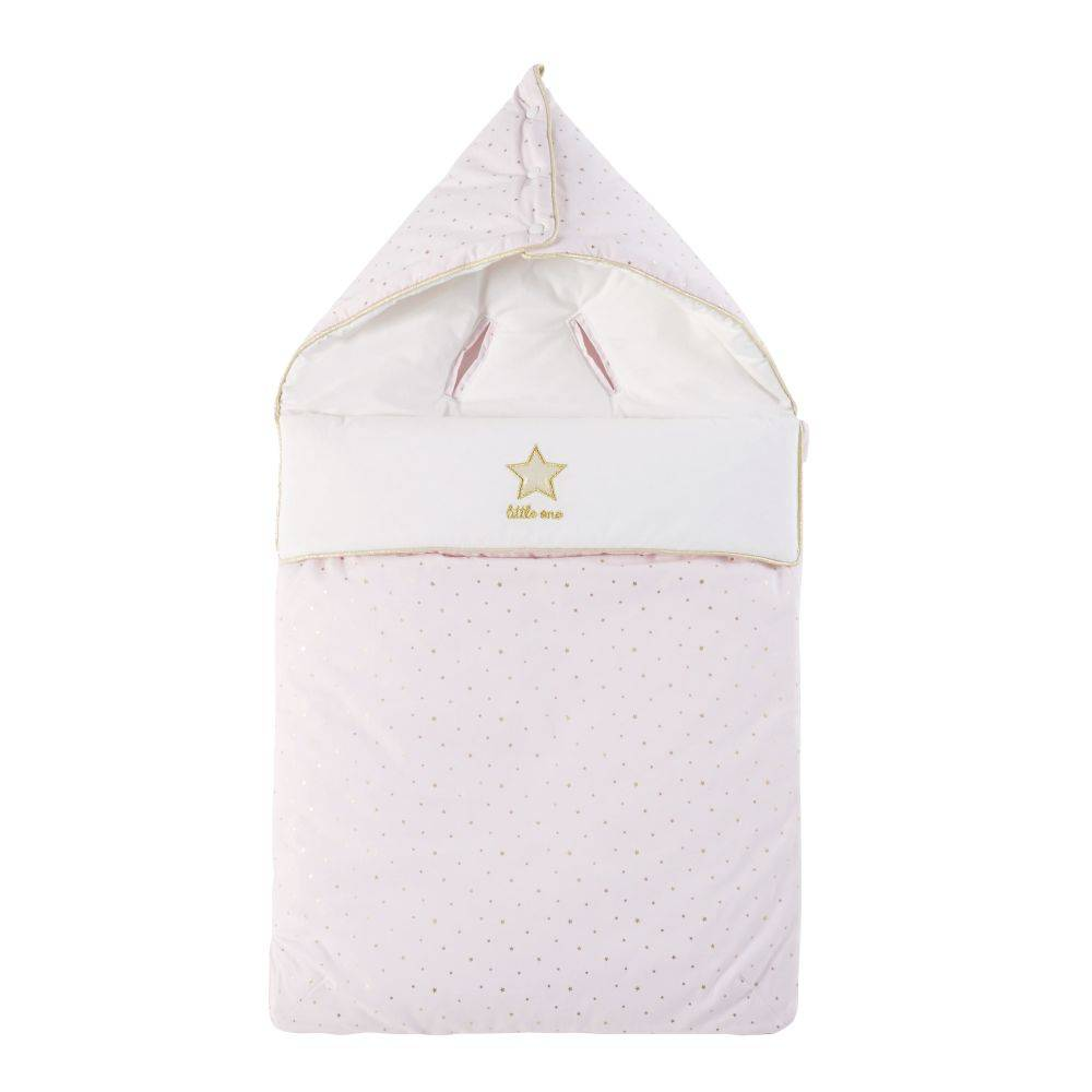 Maisons du Monde Nid d'ange bébé en coton rose, blanc et doré