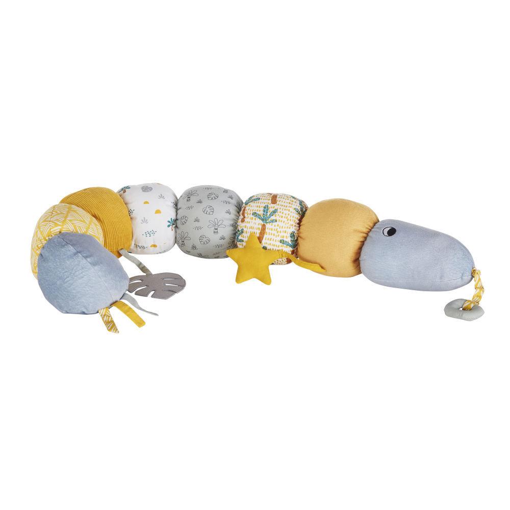 Maisons du Monde Serpent d'éveil bébé jaune moutarde, bleu et écru
