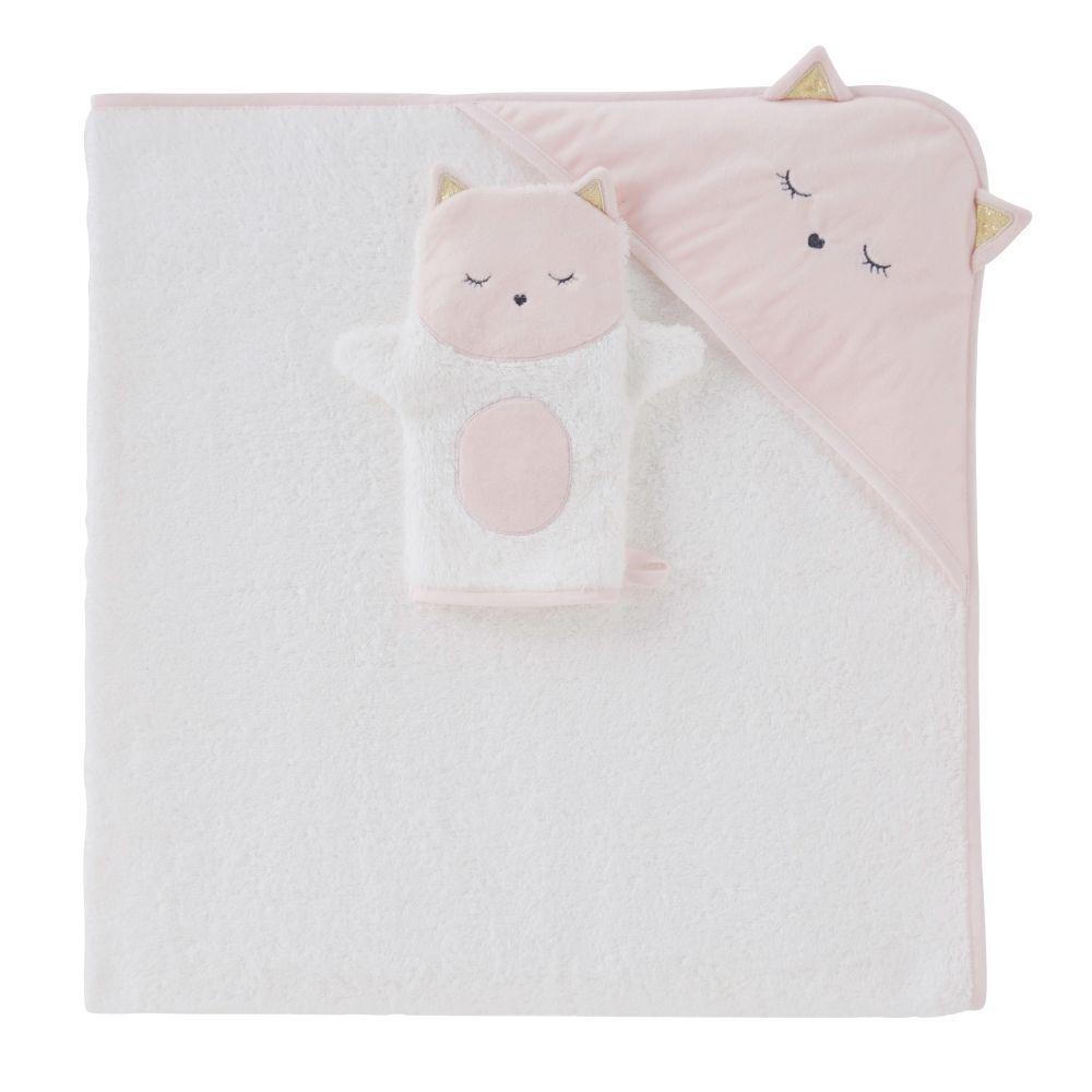 Maisons du Monde Sortie de bain bébé en coton blanc avec tête de chat 100x100