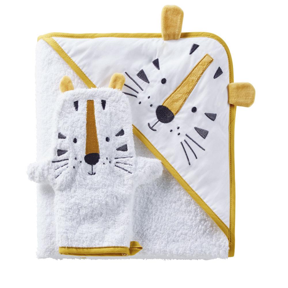Maisons du Monde Sortie de bain bébé en coton blanc avec tête de tigre jaune moutarde et noire
