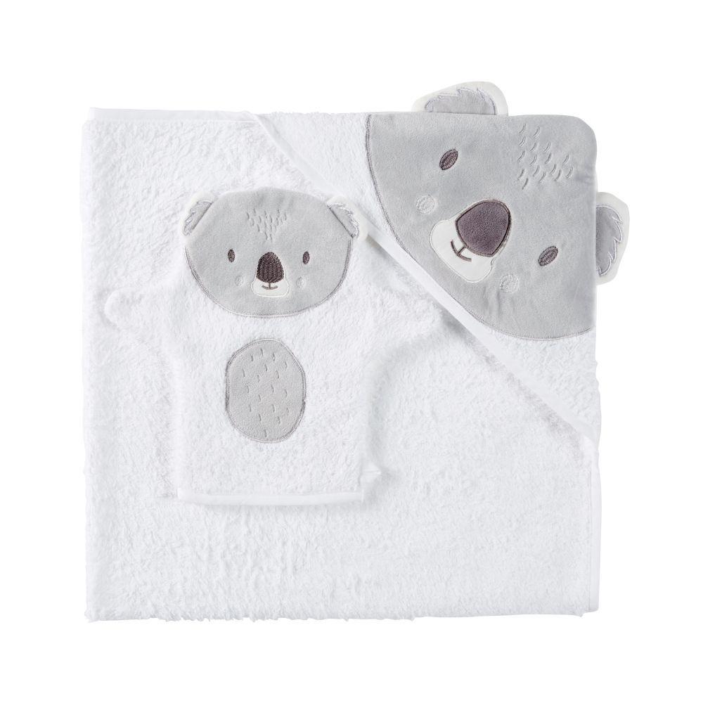Maisons du Monde Sortie de bain bébé en coton blanc et gris