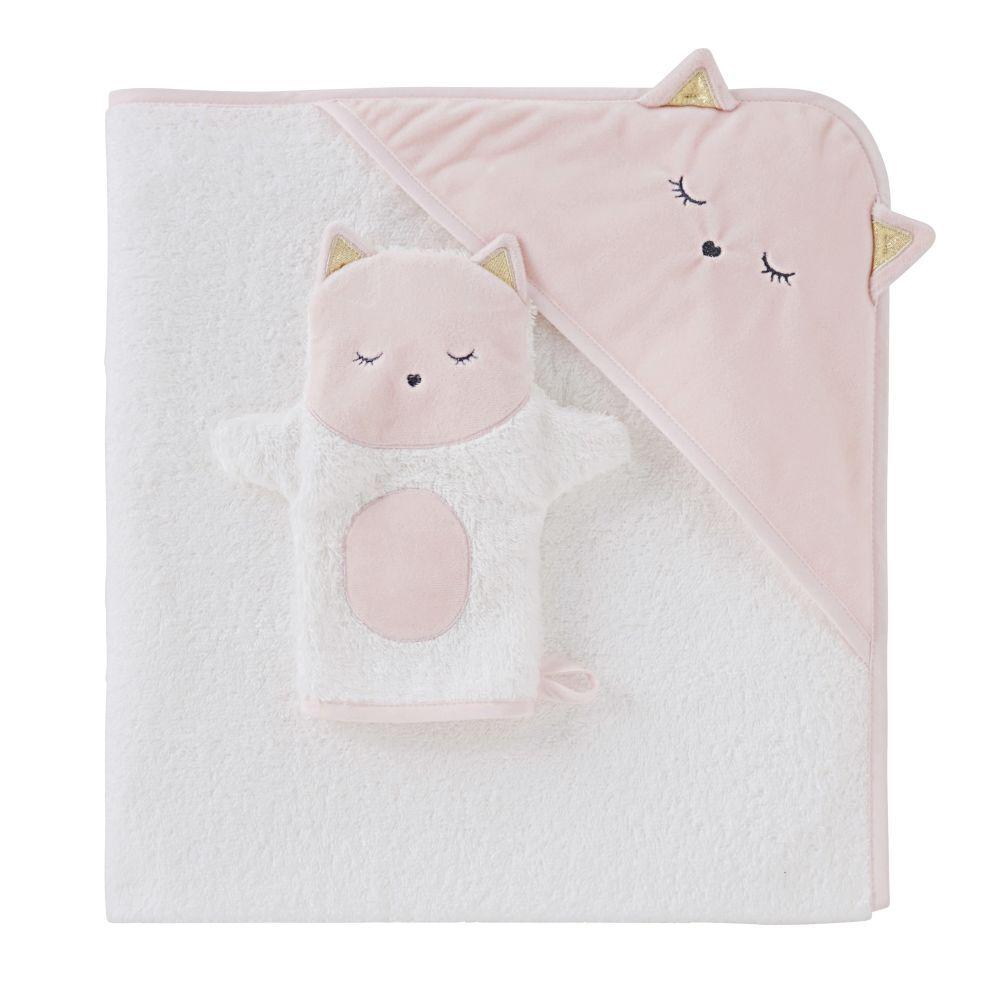 Maisons du Monde Sortie de bain bébé en coton blanche avec tête de chat 80x80