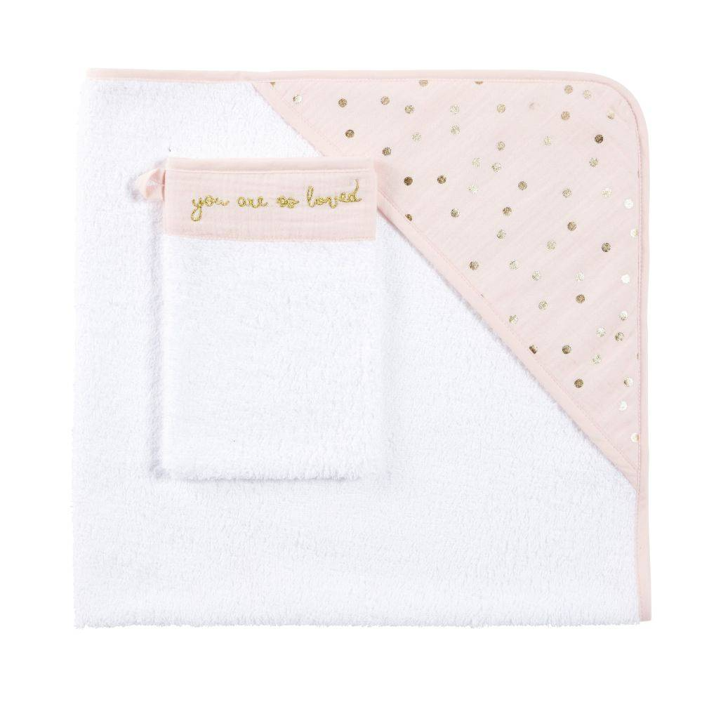 Maisons du Monde Sortie de bain bébé en coton rose motifs à pois dorés