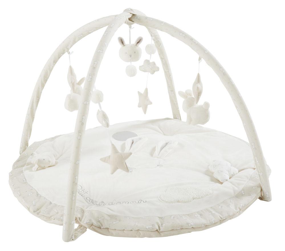 Maisons du Monde Tapis d'éveil bébé rond écru, blanc et taupe D90