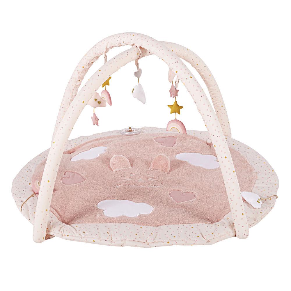 Maisons du Monde Tapis d'éveil bébé rond en coton rose et doré D90
