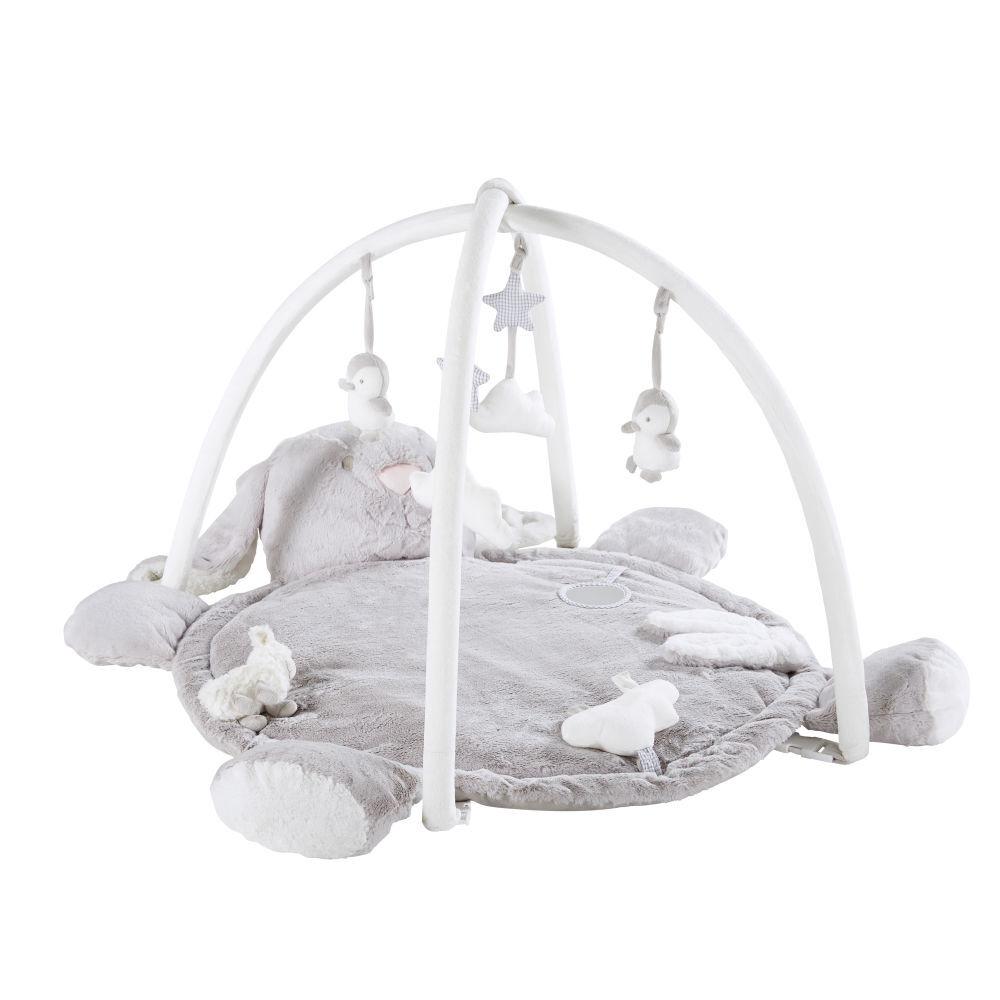 Maisons du Monde Tapis d'éveil bébé rond lapin gris D90