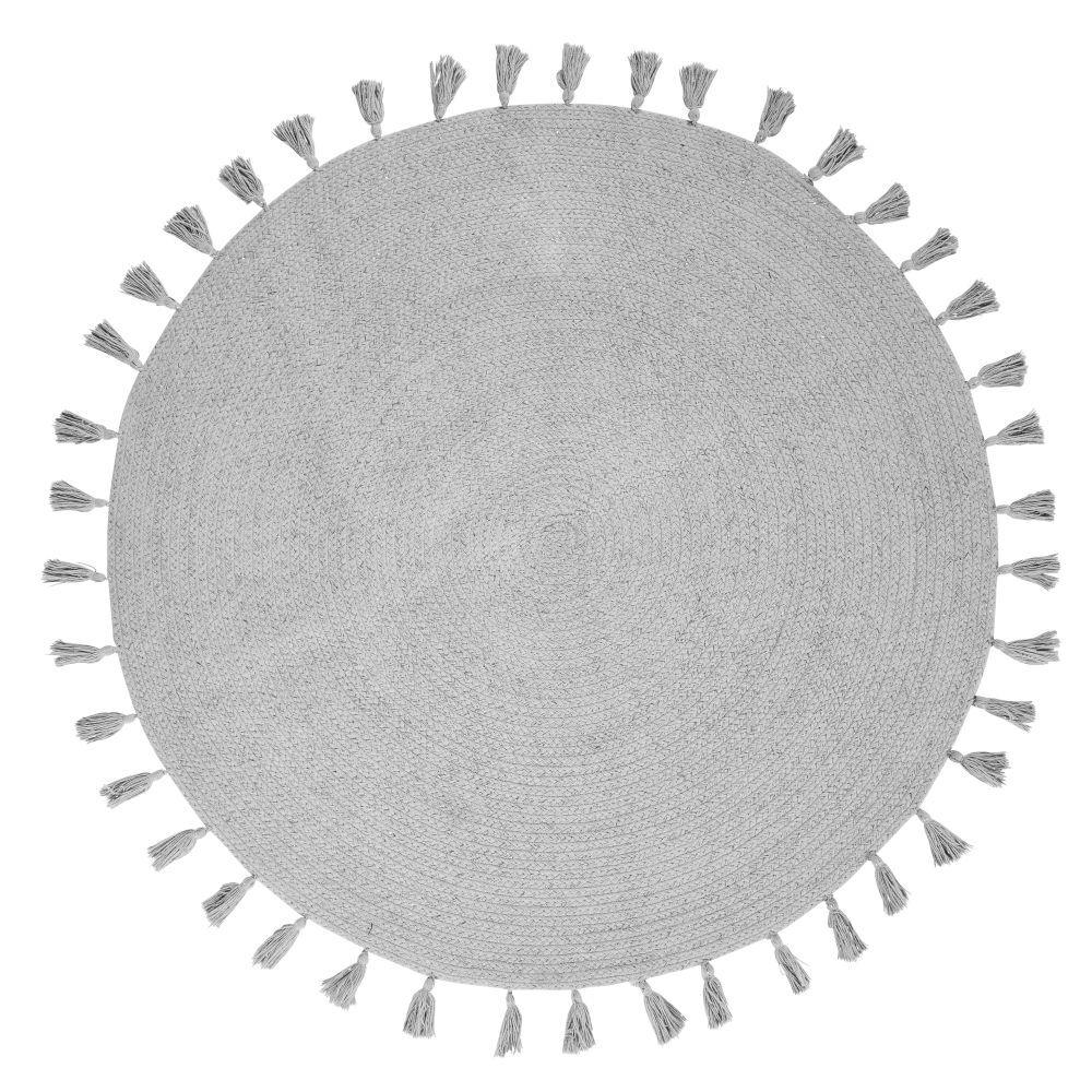 Maisons du Monde Tapis rond à pompons en coton gris D100
