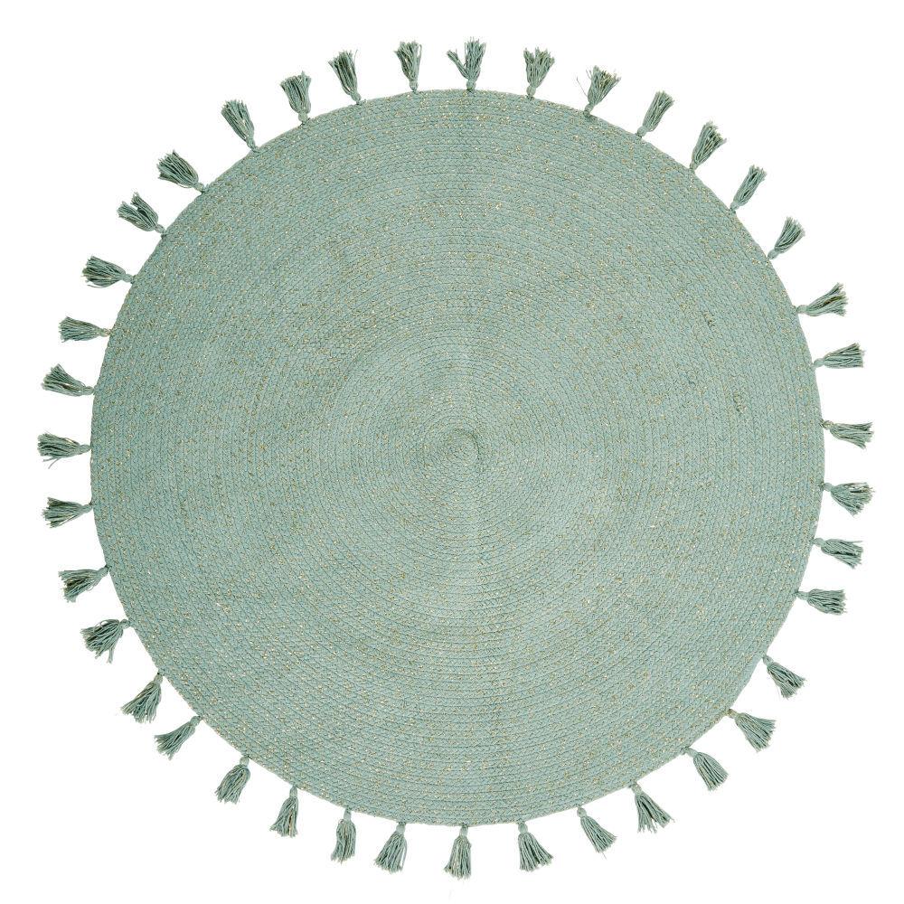 Maisons du Monde Tapis rond à pompons en coton vert D100