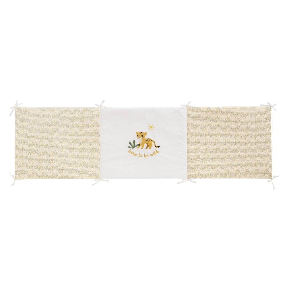 Maisons du Monde Tour de lit bébé en coton blanc et jaune moutarde imprimé léopard