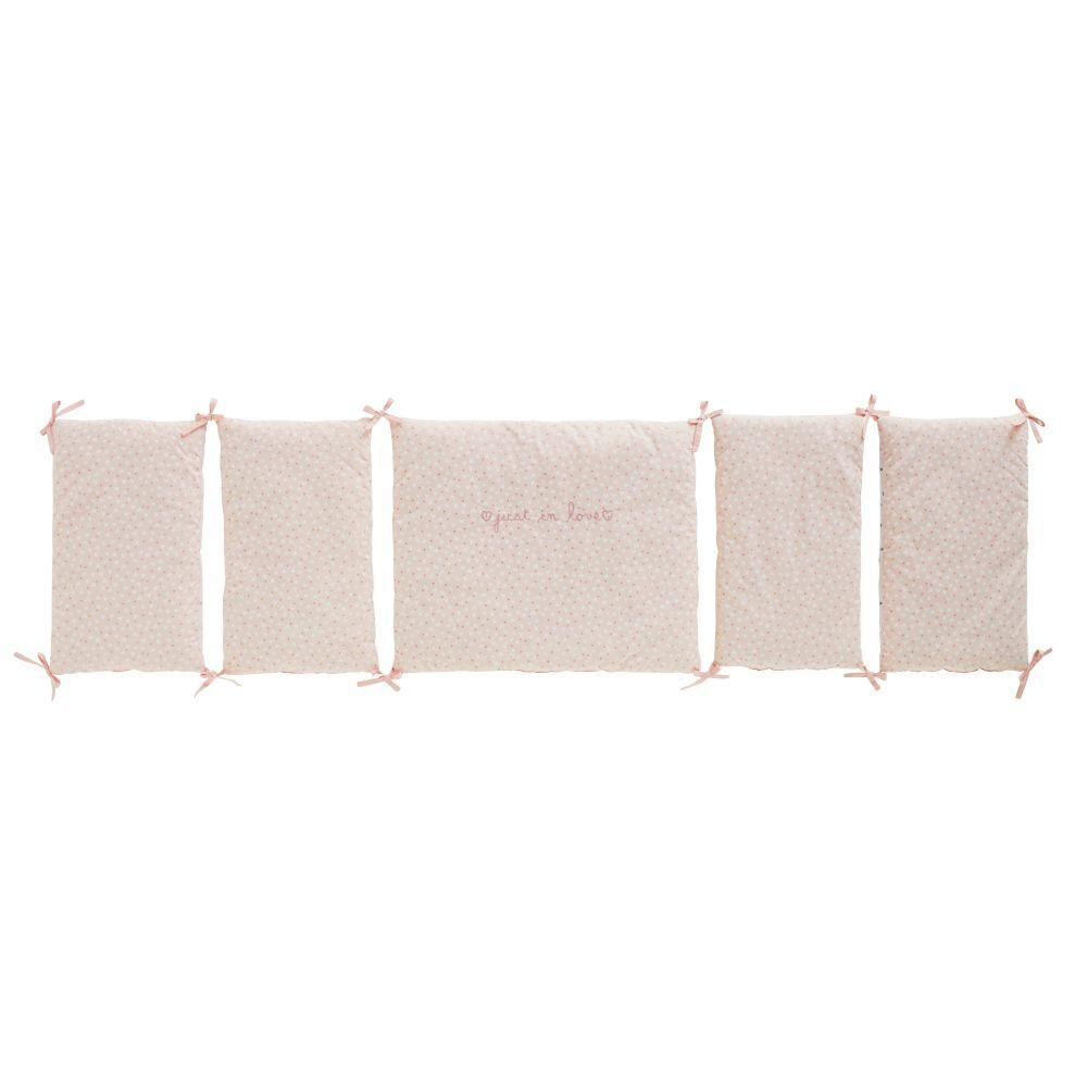 Maisons du Monde Tour de lit bébé en coton blanc et rose à motifs