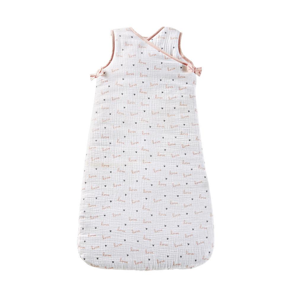 Maisons du Monde Gigoteuse bébé évolutive 0/18 mois en coton blanc, rose et gris  motifs