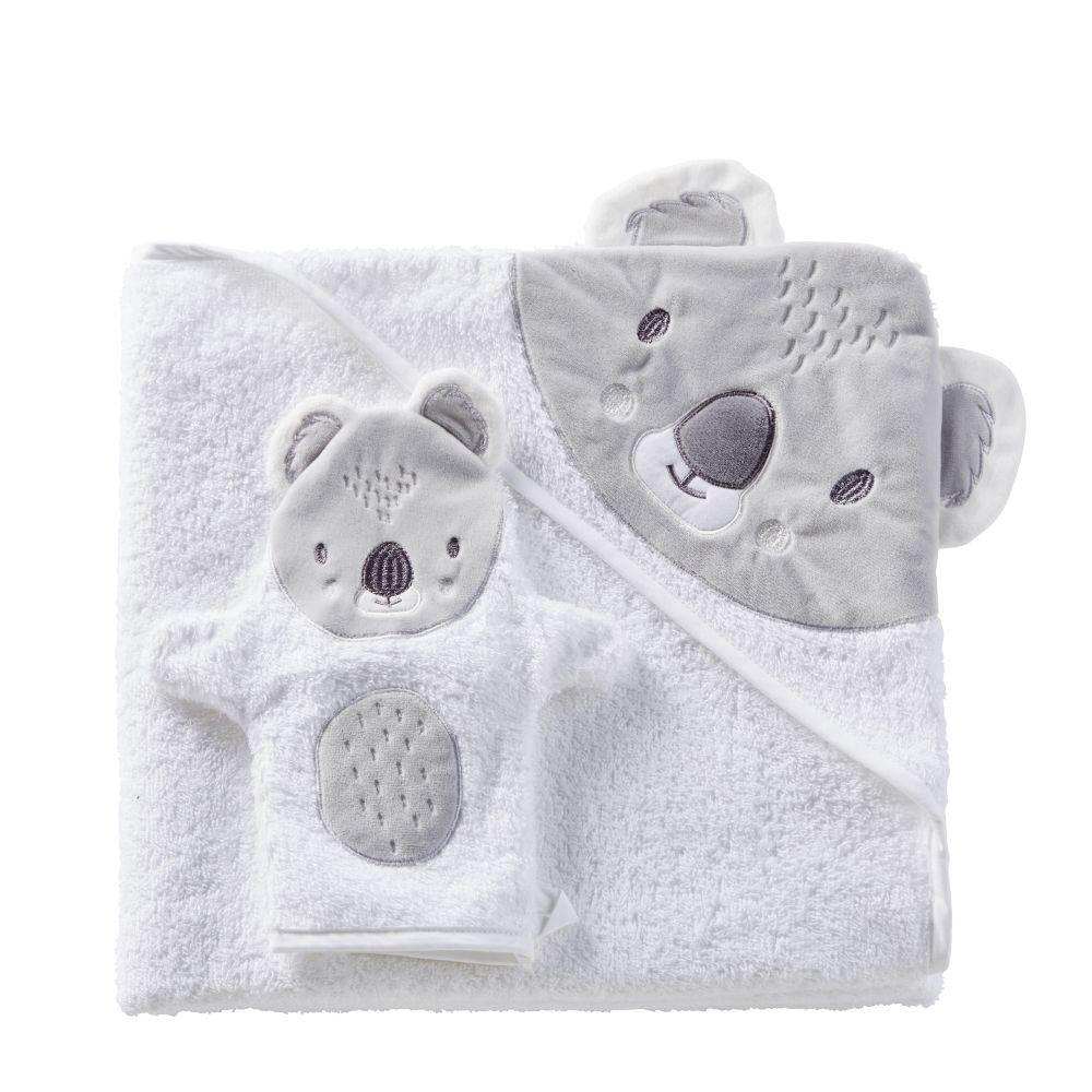 Maisons du Monde Sortie de bain bébé en coton blanc et gris 100x100