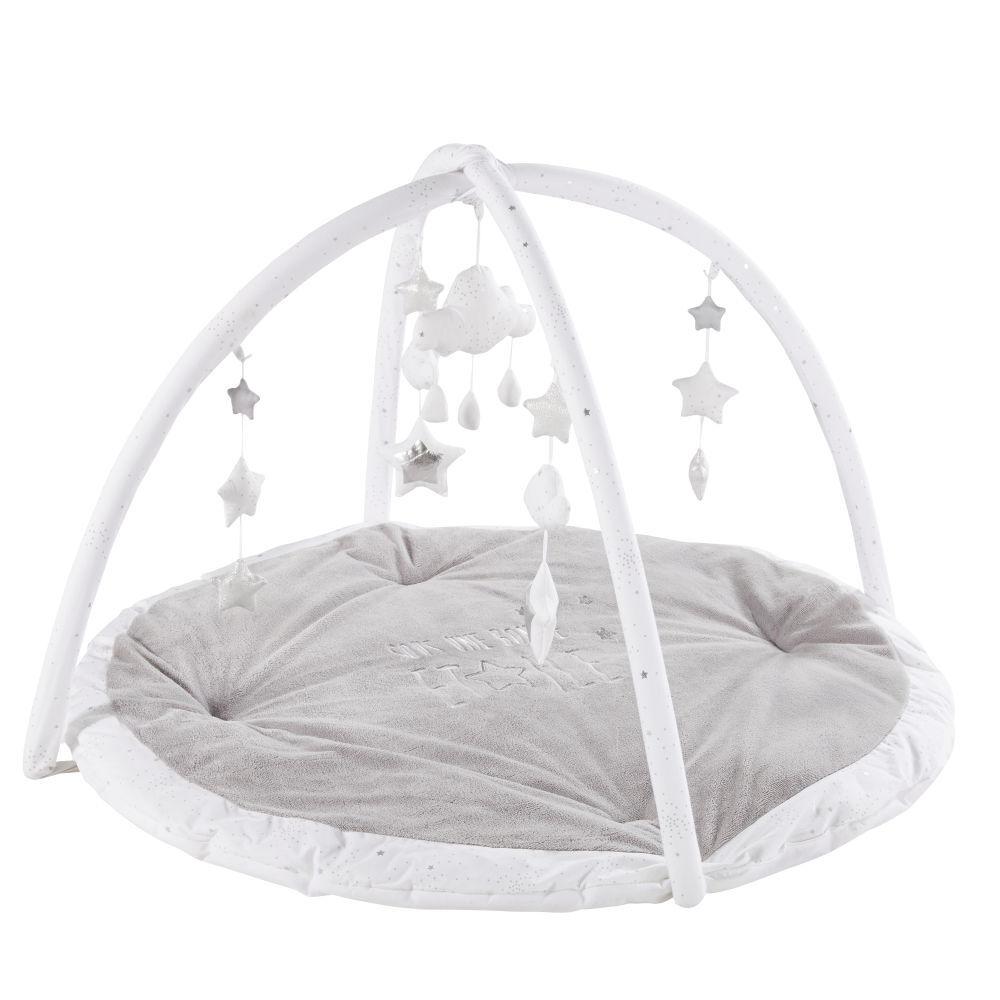 Maisons du Monde Tapis d'éveil bébé rond gris et blanc D90