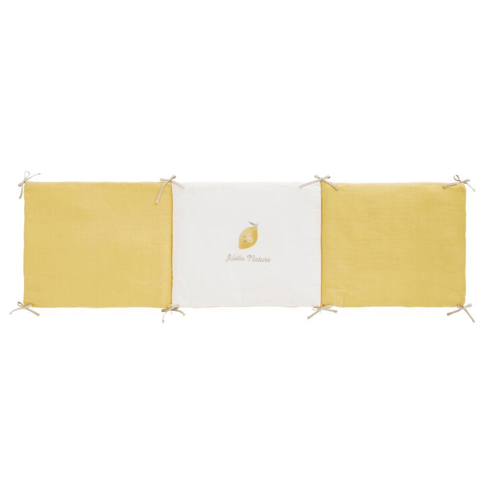 Maisons du Monde Tour de lit bébé en gaze de coton jaune et blanc imprimé citron