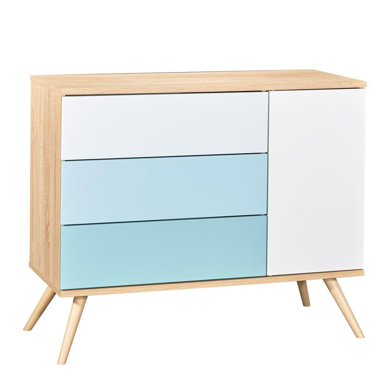 Sauthon Commode 1 porte et 3 tiroirs en bois bleu