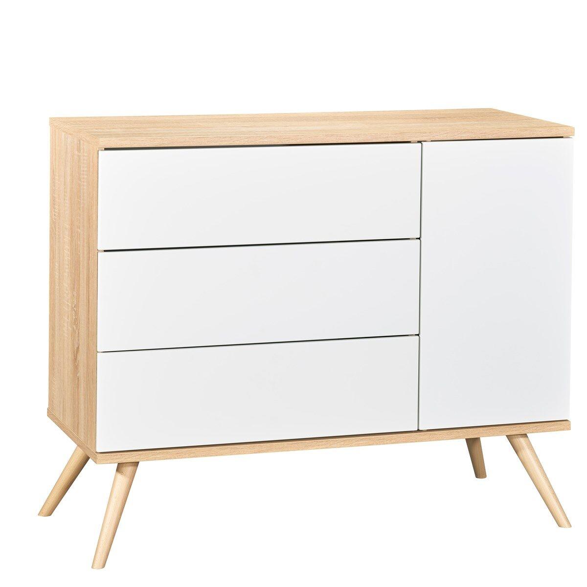 Sauthon Commode 1 porte et 3 tiroirs en bois blanc