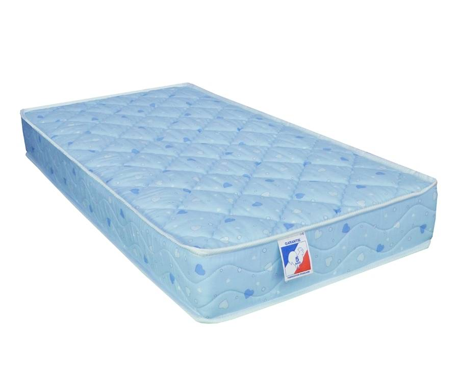 Idliterie Matelas bébé 100% coton en mousse bleu 60x120