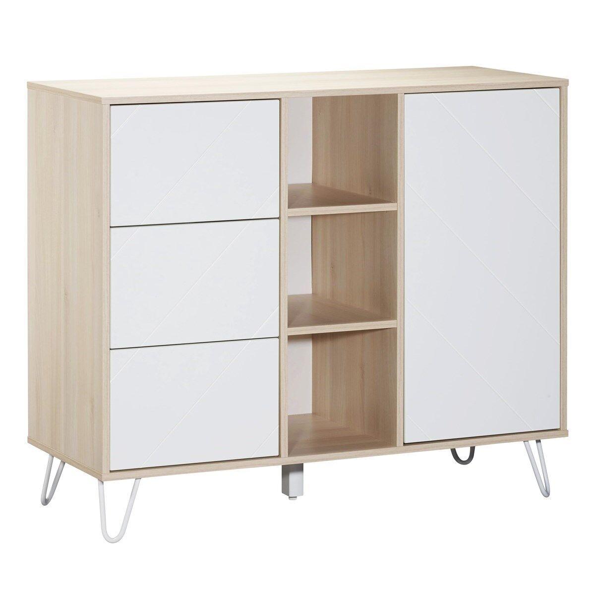 Sauthon Commode 1 porte 3 tiroirs et 3 niches en mdf blanc