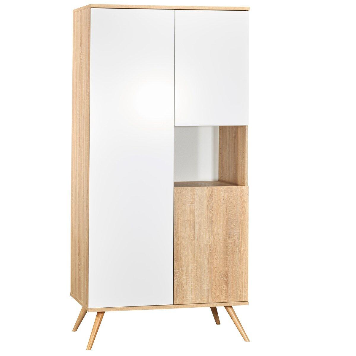 Sauthon Armoire 3 portes et 1 niche en bois blanc