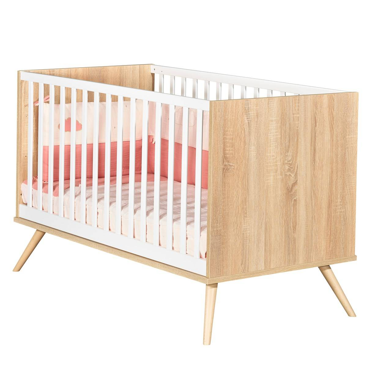 Sauthon Lit bébé évolutif 140x70 en bois marron