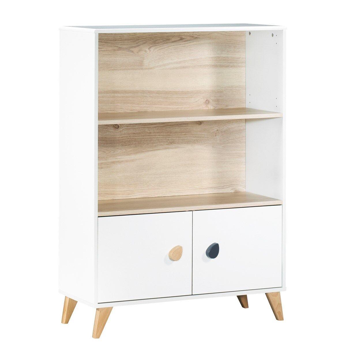 Sauthon Bibliothèque meuble boutons gouttes en bois blanc