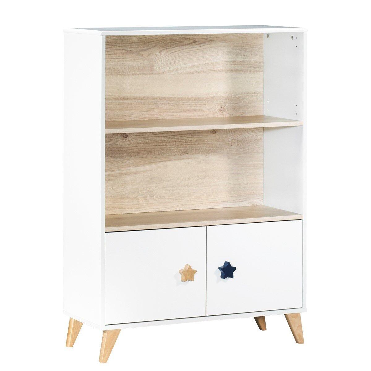 Sauthon Bibliothèque meuble boutons étoiles en bois blanc