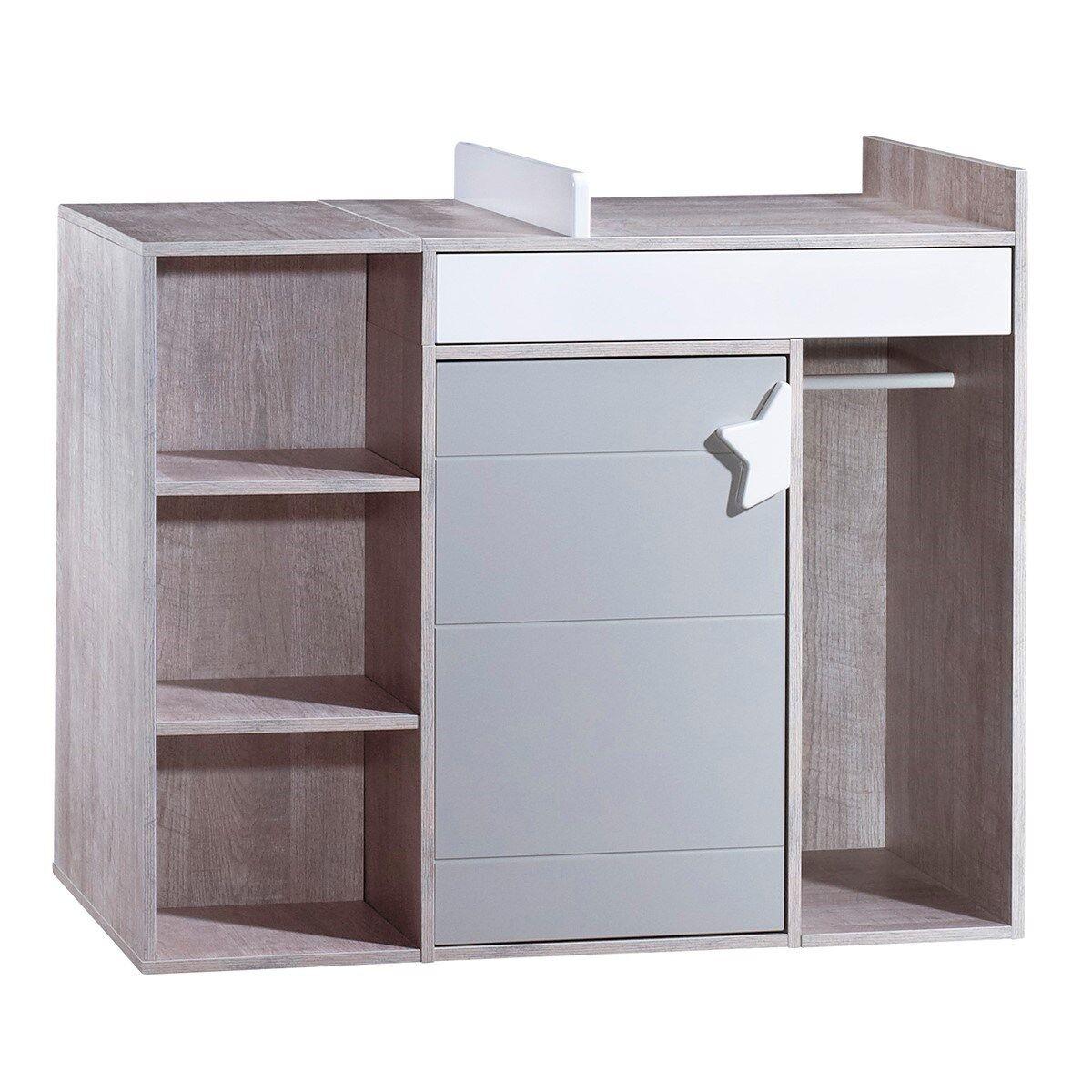 Sauthon Commode à langer évolutive en bureau en bois gris
