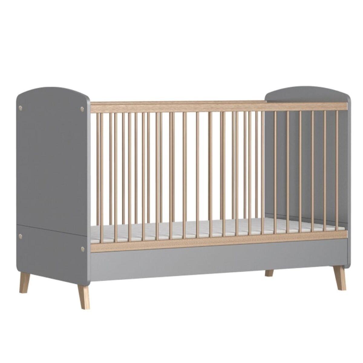 ID Kids Lit bébé évolutif Panneaux de bois 70x140 Gris, bois